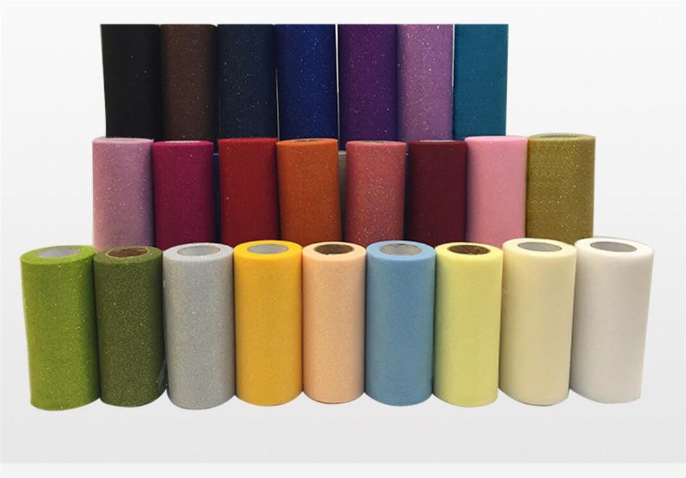 25 verges Glitter Organza Tulle rouleau Spool tissu ruban bricolage Tutu Jupe Craft cadeau baby shower Wedding Party Or Décoration d'argent