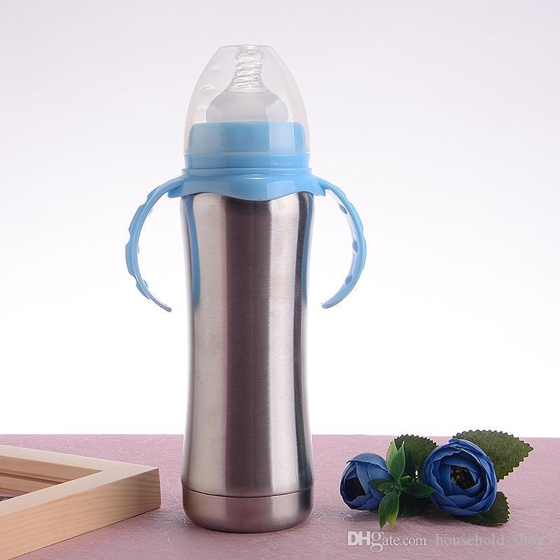 8온스 키즈 베이비 스테인레스 스틸 진공 핸들 건강하고 안전한 유아시피 컵을 병 절연