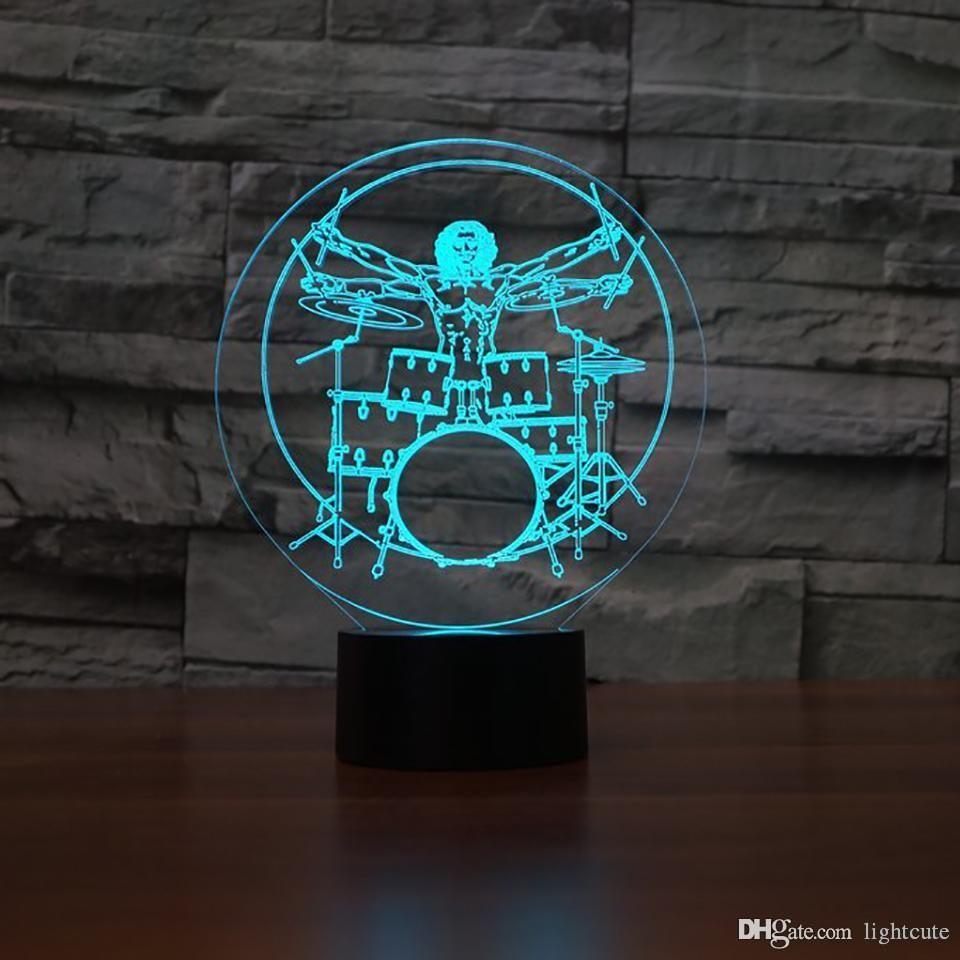 7 Renk 3D Led Gece Işık İskelet Adam Davul Modelleme Masa Lambası Ev Dekorasyonu Müzik Aletleri Başucu Aydınlatma Çocuk Hediyeleri
