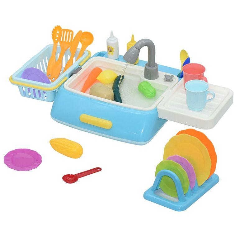 Pretend Play Brinquedos de cozinha Finja Plástico Simulação Eléctrico Máquina de Lavar Louça Sink brinquedo com cozinha que cozinha Set para meninas presentes para crianças