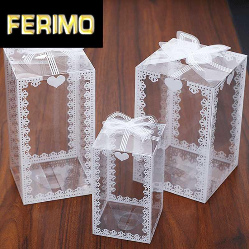 Оптовая 10 / 50шт New Clear PVC Упаковка коробки венчания / Рождество Фавор торт Шоколадные конфеты компании Apple Gift Event Transparent Box / Case