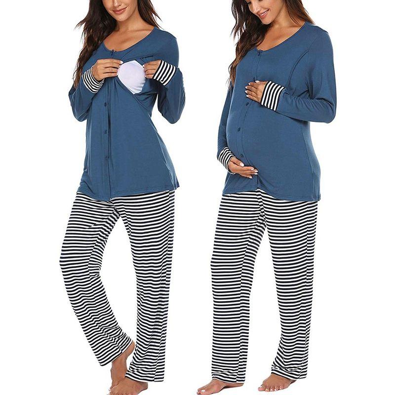 임신 한 여자 모유 수유 T 셔츠 바지 출산 의류 긴 소매 버튼 간호 고체상의 줄무늬 바지 잠옷 세트