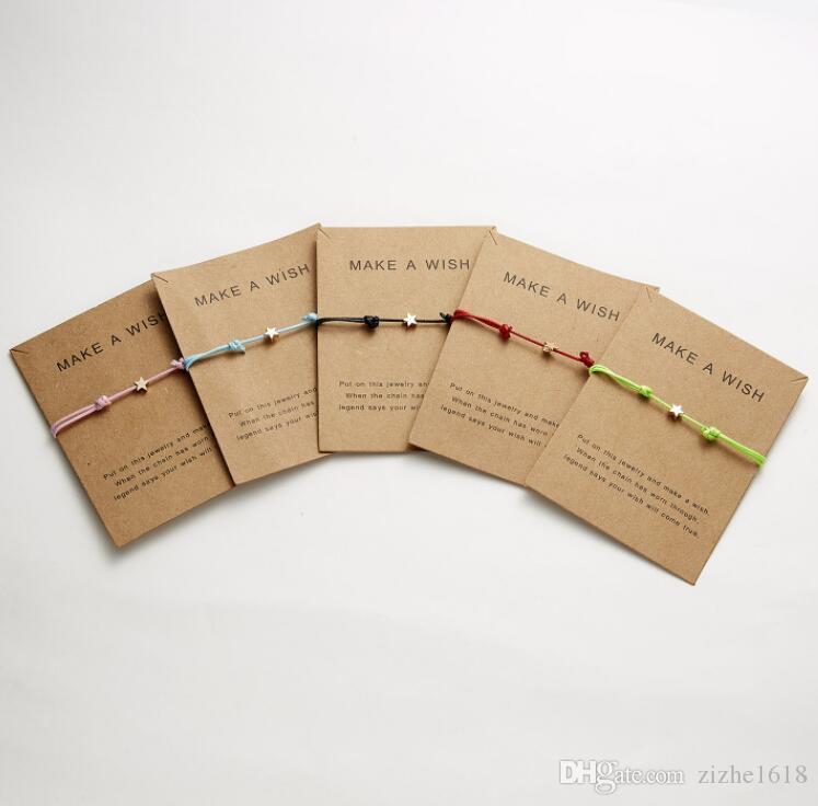 Armband Damenmode Zusammenstellung Seil Party Sommer Modeschmuck Beliebte Sterne Enthält Karten Großhandel Make A Wish
