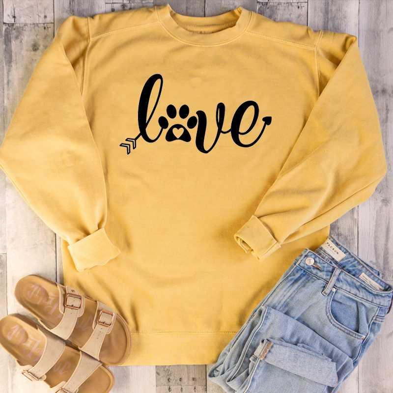 Hipster Chien d'amant de chat overs Amour graphique Femmes Coton Casual drôle Slogan Femmes Mode grunge Tumblr Sweatshirt