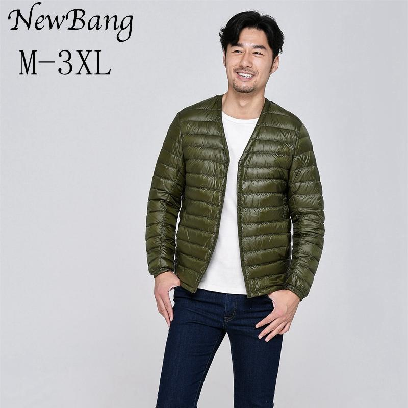NewBang Marka Ultra Hafif Aşağı Ceket Erkekler Tek Breasted Taşınabilir V Yaka İlkbahar Sonbahar Kış Yaka Sıcak Liner olmadan