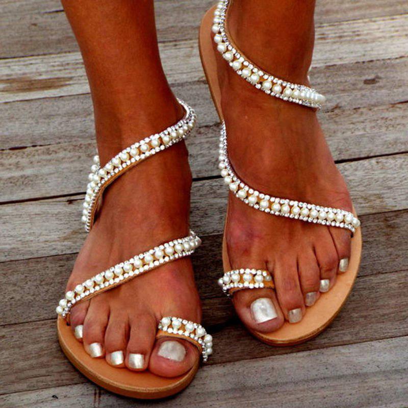 Casual weiße Sandalen Mujer Größe 37 38 Frauen Sandalen Flache wulstige geöffnete Zehe Breathable bequemer Strand-Schuh Licht Roman