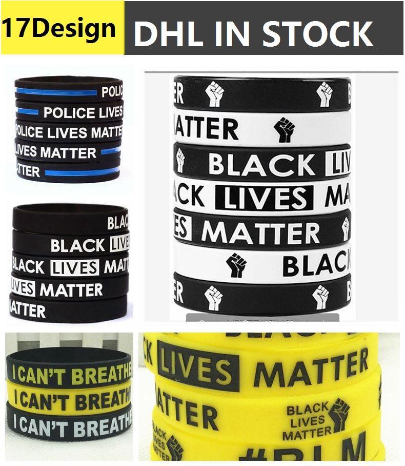Ben Bilek Bandı Sloganı George Floyd 200pcs nefes alamaz Siyah Hayatlar Matter Bileklik Bilezik Alayı ABD Parade Bilek Band NEFES CAN NOT