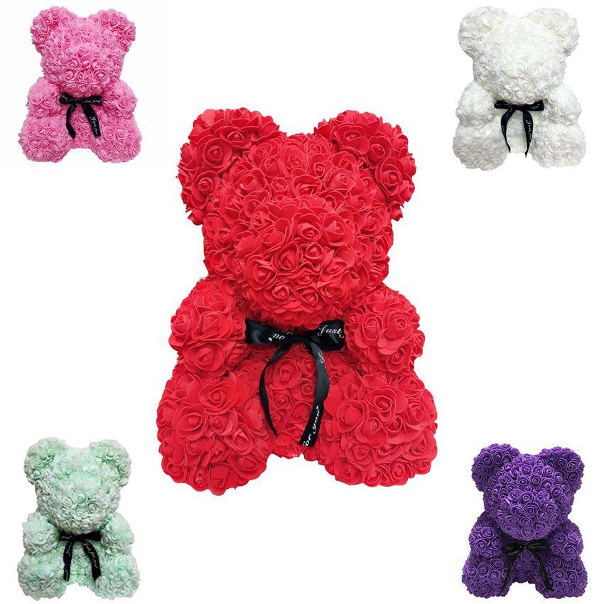 Valentine Gifts 40cm Rose Bear Artificial Flowers with Gift Box Wedding Decor Flores Artificiales Para Decoracion Hogar
