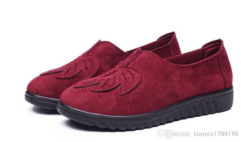 2021 zapatos de desgaste formal de las mujeres en primavera y otoño con zapatos de tela madre plana redonda plana de nuevo estilo @ 6311