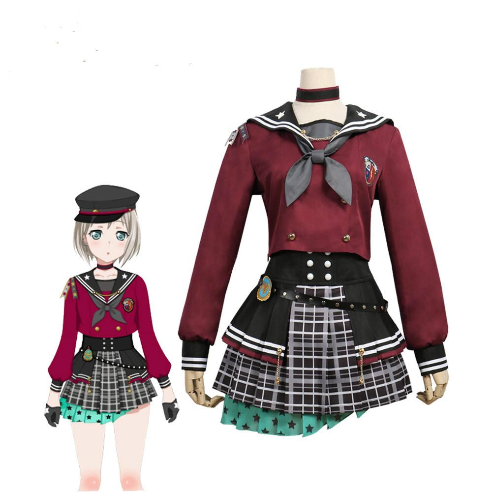 Free shipping Cosplay Costume BanG Dream ! Afterglow Lost One Aoba Moca Dress Anime Uniform Halloween Anime Game