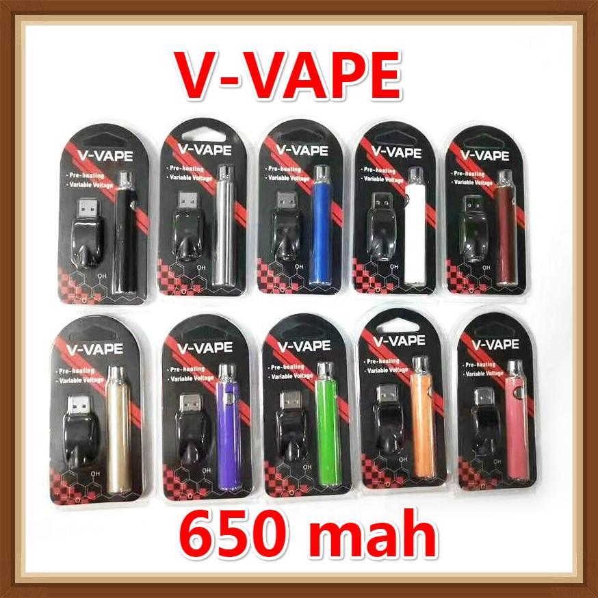 V-VAPE LO VV-Batterie-Blister-Kit vorheizen 650mAh variable Spannung einstellbar mit USB-Ladegerät für 510-Wachs-Öl-Vorheizpatrone