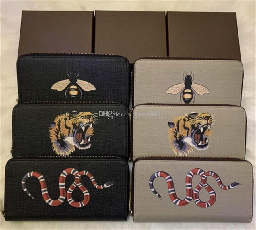 kutu 60017 ile toptan 6 renkler moda tek fermuar tasarımcısı erkekler kadınlar deri cüzdan bayan bayanlar uzun çanta
