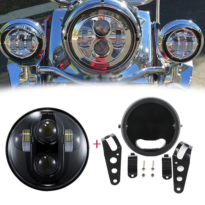 """5.75 """"LED Projektör Far ile ev için braket halkası Motosiklet Özel Chopper Bobber Cafe racer"""