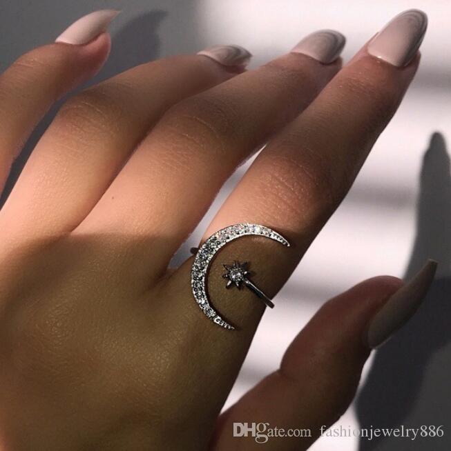 أزياء المرأة قابل للتعديل الهلال القمر ستار خاتم فضة الياقوت الأبيض مجوهرات هدايا
