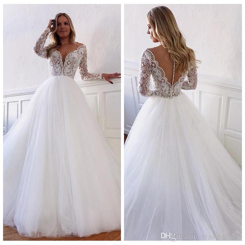 Abiti da sposa a trapezio maniche lunghe in pizzo trasparente 2020 Abiti da sposa personalizzati modesti Abiti da sposa Moda europea