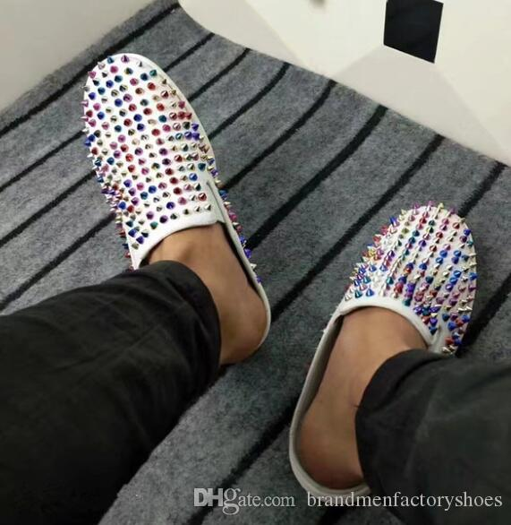 New Unisex Loafers Studded Colorful Rivets Round Toe Leather casual shoes men Fashion Spikes Zapatos Mujer Top Quality