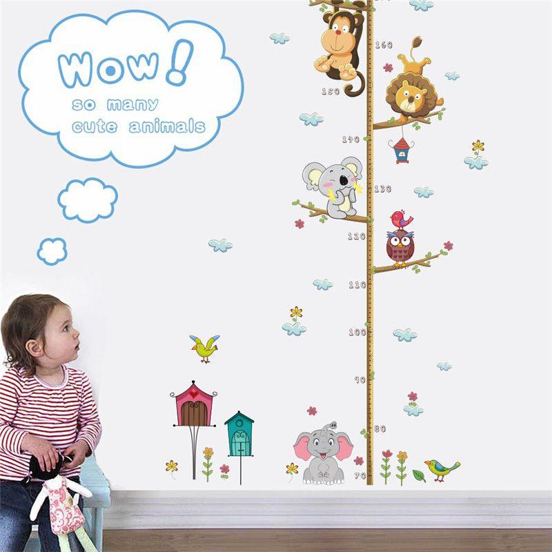 Animales de dibujos animados Lion Monkey Owl Elephant Altura Medida Etiqueta de la pared para habitaciones de niños Tabla de crecimiento Decoración de la habitación del cuarto de niños Arte de la pared