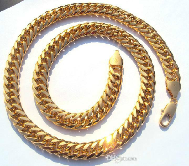 O ENVIO GRATUITO de MENS REAIS 24 K REAL SOLID GOLD FINISH THICK LINK NECKLACE CHAIN
