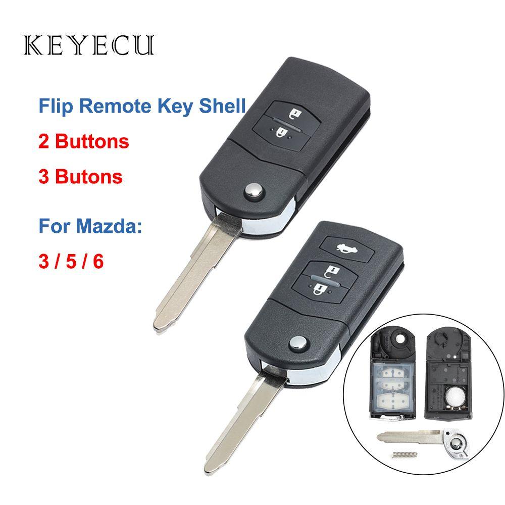 Keyecu 2 3 Buttons Flip Remote Car Key Shell Case for 3 5 6 2003 2004 2005 2006 2007 2008 2009 2010 2011 2012 2013