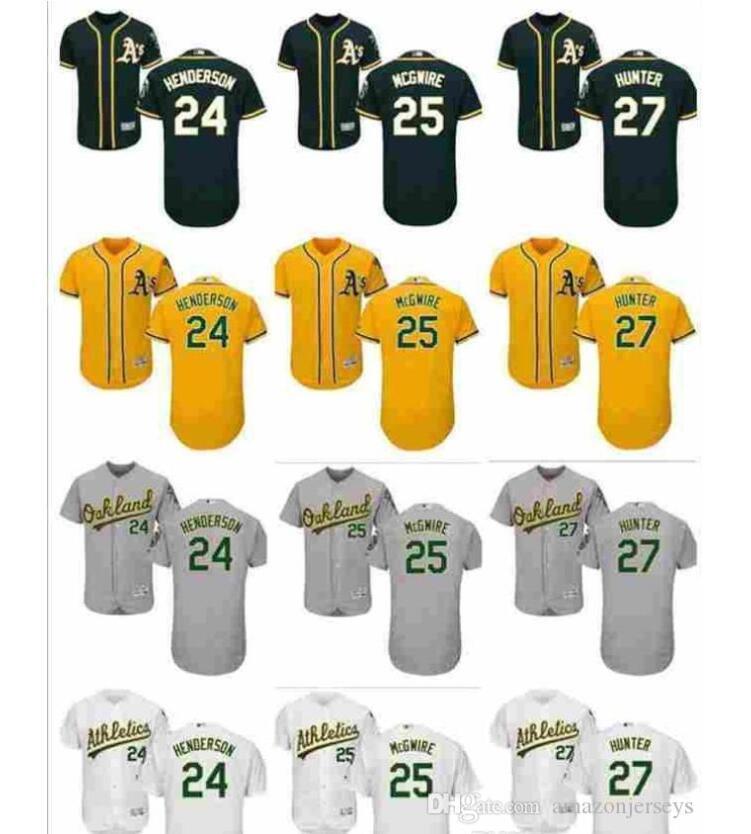 Donna Uomo personalizzato Oakland Athletics bambini Jersey 24 Henderson 25 McGwire 27 Catfish Hunter Green Home scherza il pullover di baseball