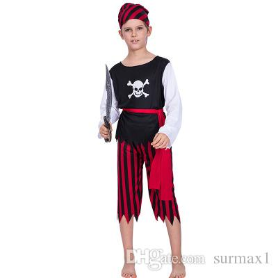 2019 New Europe and America Halloween cosplay pirate human skeleton boy costume Halloween stage performance clothing cosplay costume