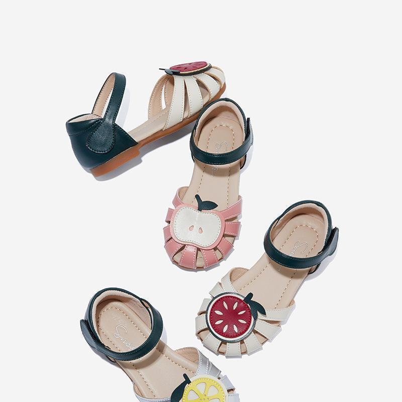 Девушки сандалии прекрасный сладкий яблоко лимон арбуз аппликация мягкий свет вверх детская пляжная обувь дети летние фрукты модные туфли T200427