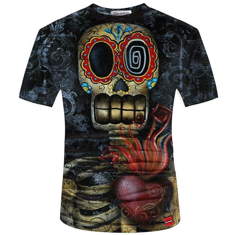 3d camiseta de los hombres de Nueva marca de moda para hombre del cráneo 3D imprimió la camiseta más el tamaño S-5XL divertido Imprimir Hombres Ropa Camiseta Masculino de Kawaii