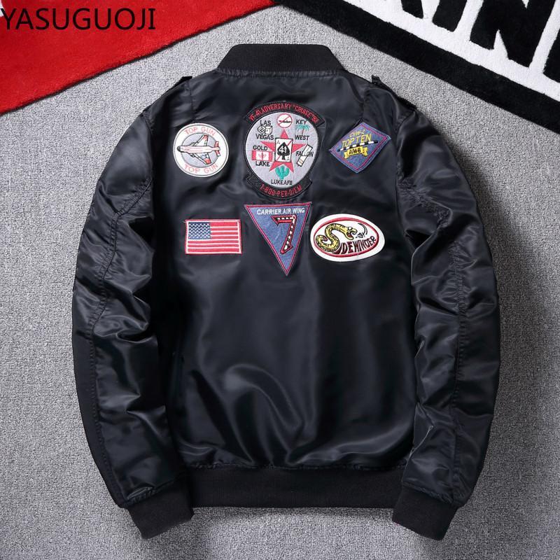 남자 재킷 Yasuguoji 망 비행 폭격기 파일럿 재킷 전술 코트 오토바이 아웃웨어 2021 봄 남성 스트리트 힙합