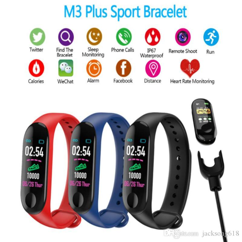 Bluetooth Running Pedometer M3 Plus Fitness Smart Watch Plus Blood Pressure Monitor Heart Rate Fitness Tracker Bracelet Step Counter