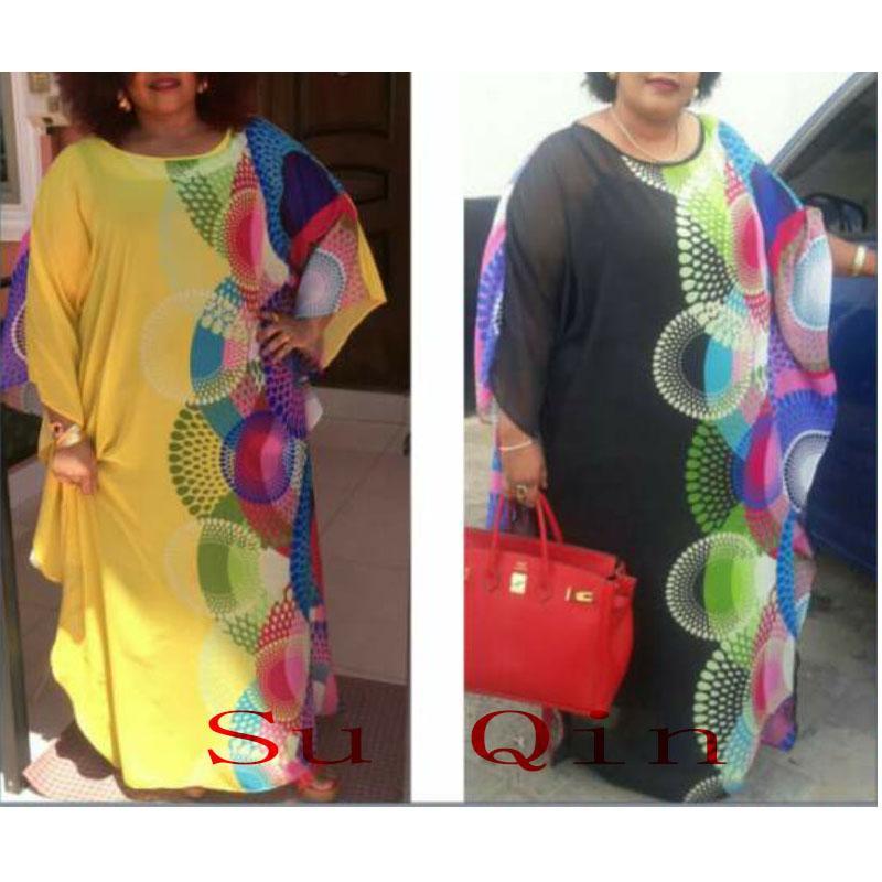 Lady İçin Yeni Moda şifon Super Size Afrika Gevşek Uzun dashiki Geleneksel Elbise (XF02)