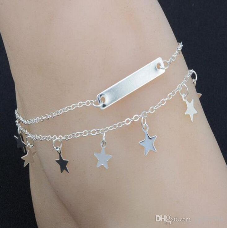 Multi Layer Verano estrella pulsera para el tobillo del pie Yoga cadena verano Pierna pulsera de lentejuelas encantos Beach joyería de las mujeres de moda Pentagram Boho 25PCS