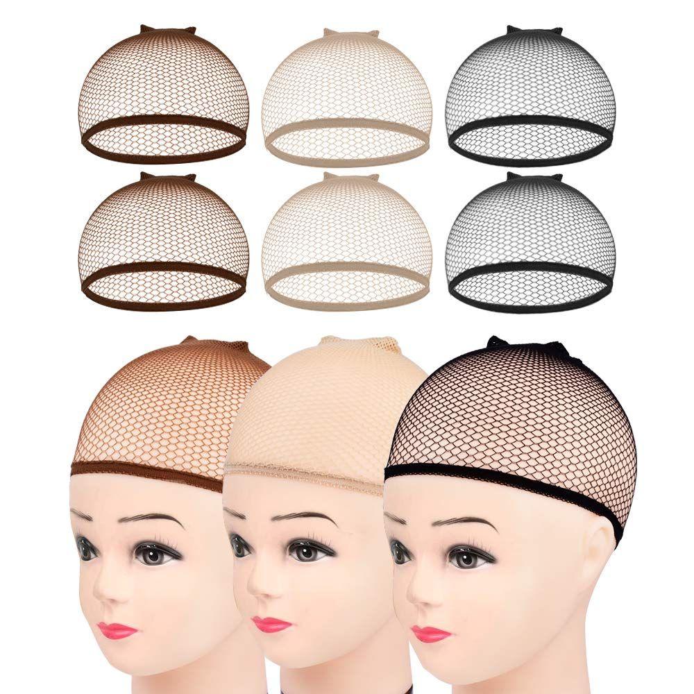 100pcs Invisible Cabelo Nylon Nets Com Elastic Mulheres Homens Senhoras perucas Stocking Cap Weaving malha Fishnet Net Castanho Bege Preto