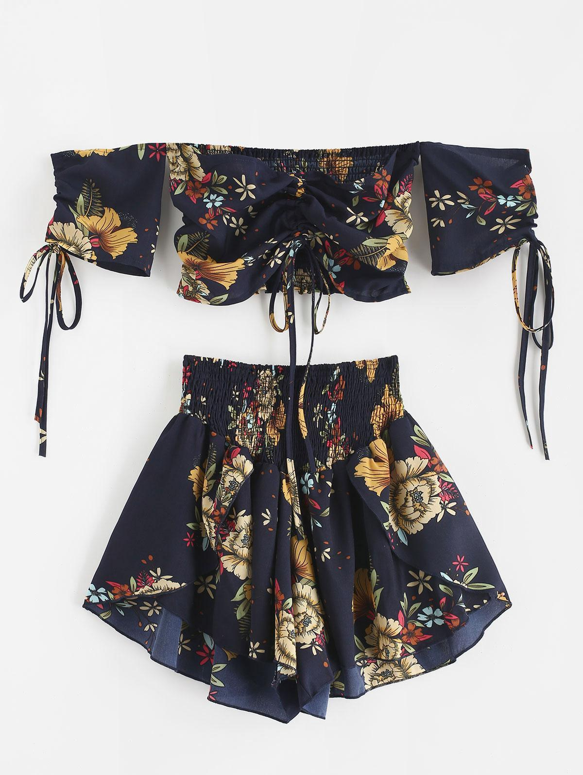 Nouveau Femmes Bohême épaules Cinched Floral Set - minuit Blue Beach Automne Boho Vestidos Robe Boho