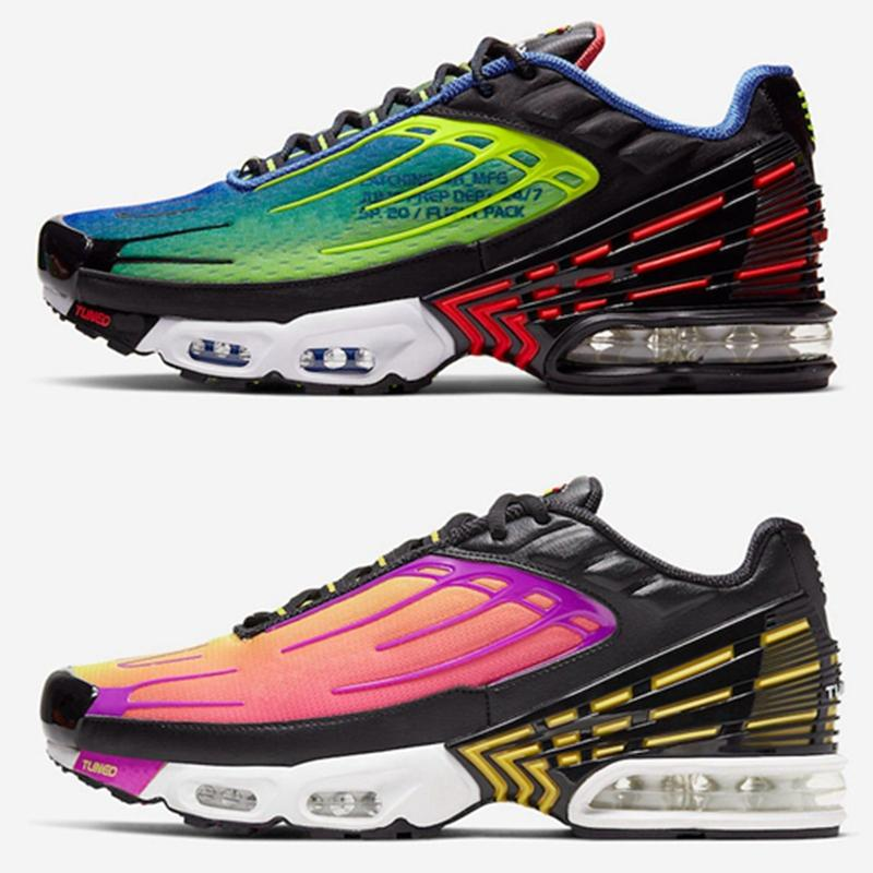 2020 Além disso, TN 3 III Mens Running Shoes Parachute sol Hiper Violet Red Aranha azul Triplo Preto Branco Virou Mulheres Tns Esporte Sneakers