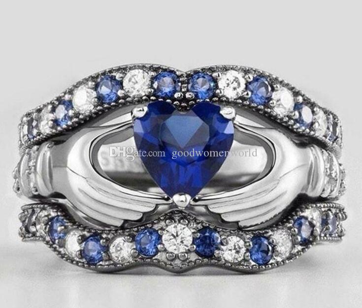 trasporto libero veloce di diamante blu a tre strati mano che tiene l'anello del cuore del regalo delle donne Wedding Anniversary Day di alta qualità Mai Fade