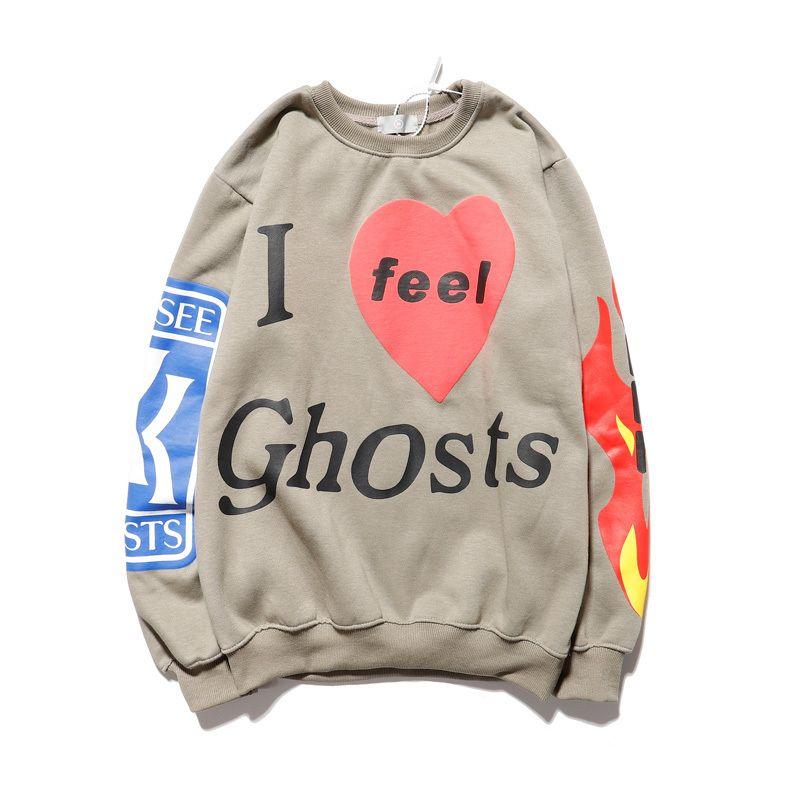 """Kanye West """"Ich fühle mich Ghosts"""" Sweatshirt Männer und Frauen Fleece Flamme Print Hip Hop Hoodies Xxxtentacion lose beiläufige Hoody Y200331"""