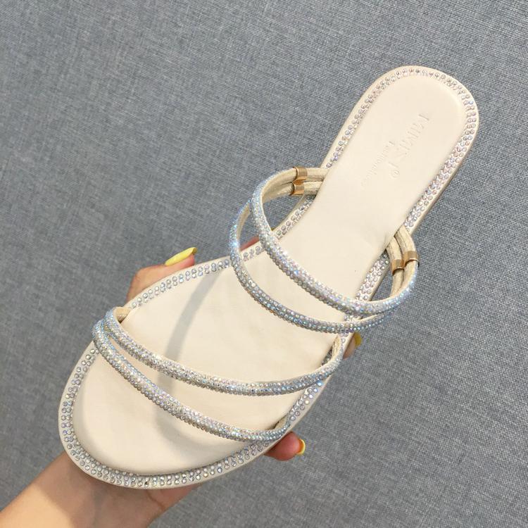 Crystal2019 Sandalet Ins Kadın Peri Rüzgar Tek Kelime Getirmek Rhinestone İki Giysi Toeless Tüm Maç Roma Düz Ayakkabı