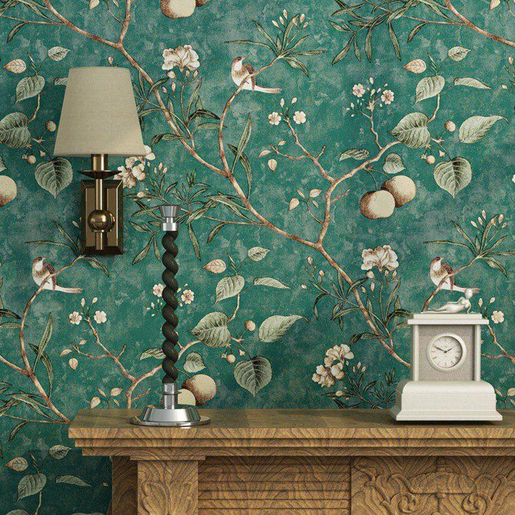 Pastorale américaine Fleurs et oiseaux Fond d'écran Vintage Apple Tree Fonds d'écran Rouleau de papier peint Mur Jaune Vert Papier Peint