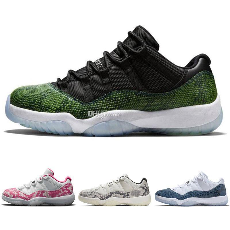 2019 Новый 11 Серый Snakeskin Белый Синий Низкие мужские баскетбольные кроссовки 11S XI спортивные кроссовки кроссовки на открытом воздухе высокого качества Евро 36-47