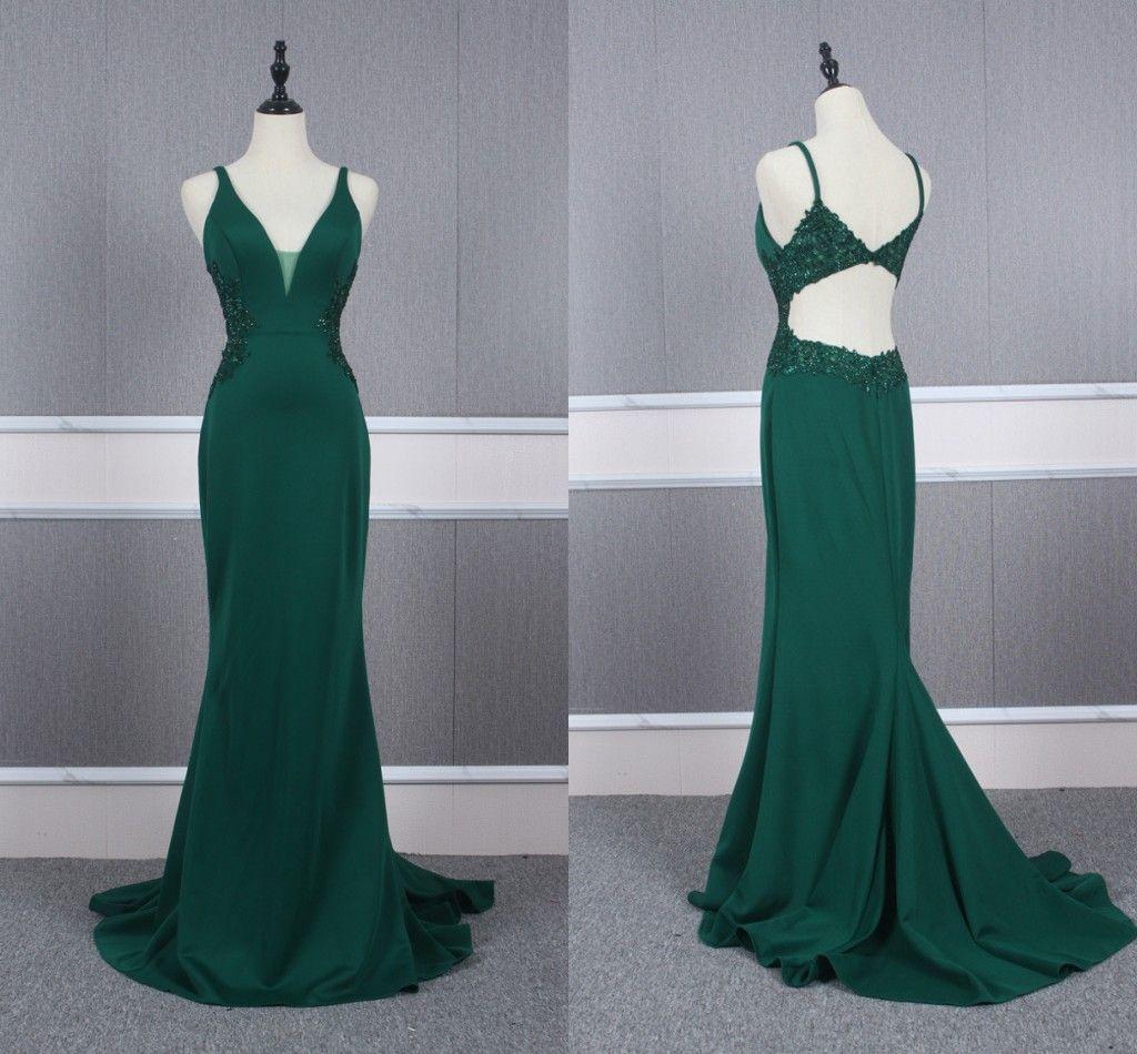 Sexy verde scuro scollo a V da sera di promenade veste 2020 lungo con spalline buco della serratura indietro del merletto di Applique lungo in rilievo del partito vestito da spettacolo