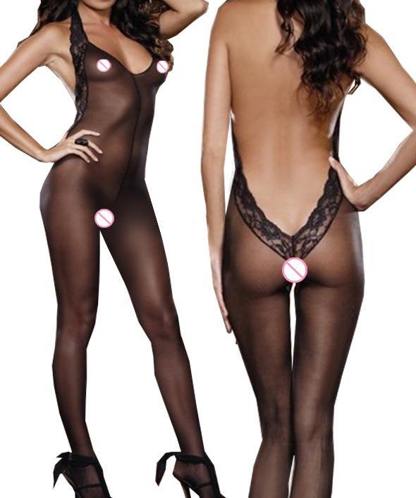 Mulheres Sexy Sheer e Opaque Halter Virilha Aberta Bodystocking Low Cut Back Guarnição Do Laço Corpo Bodysuit Lingerie Erótica