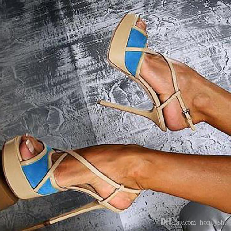 Kolnoo simples das mulheres de salto alto sandálias patchwork verão fivela cinta sapatos de escritório moda casual tamanho grande sapatos d121
