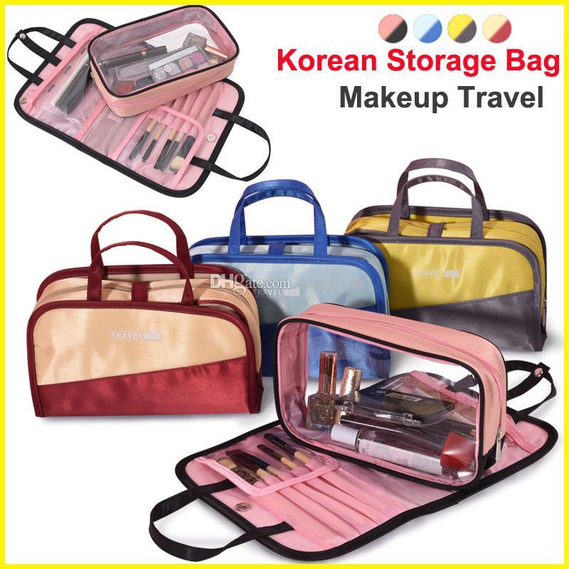 한국 스타일 화장품 보관 가방 메이크업 브러쉬 주최자 여행 가방 화장 용 가방 방수 대용량 워시 홈 보관 가방 4 색