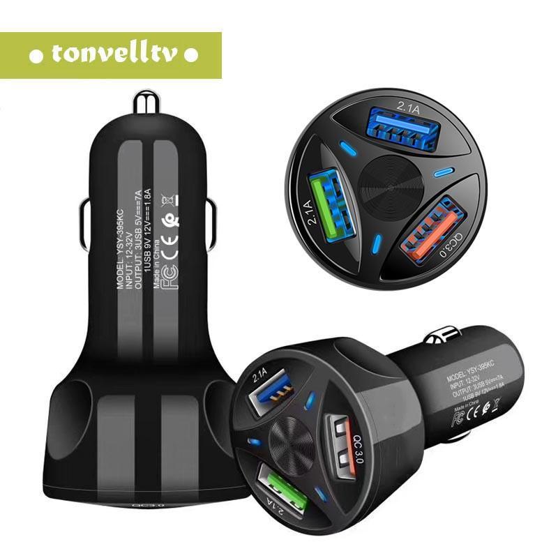 Doppio 3 USB Car Charger 3 Port QC Quick Charge USB 3.0 veloce Caricabatteria da auto per smartphone 3A telefono per l'iPhone Samsung S9 S10