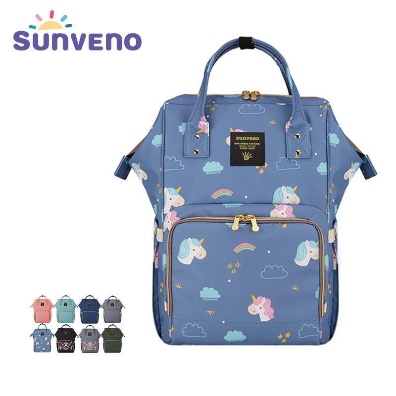 Sunveno Mummy saco de fraldas Marca de Grande Capacidade Baby Care Travel Bag Backpack Multifuncional Múmia Bag Nurse Backpack para recém-nascido Y200107
