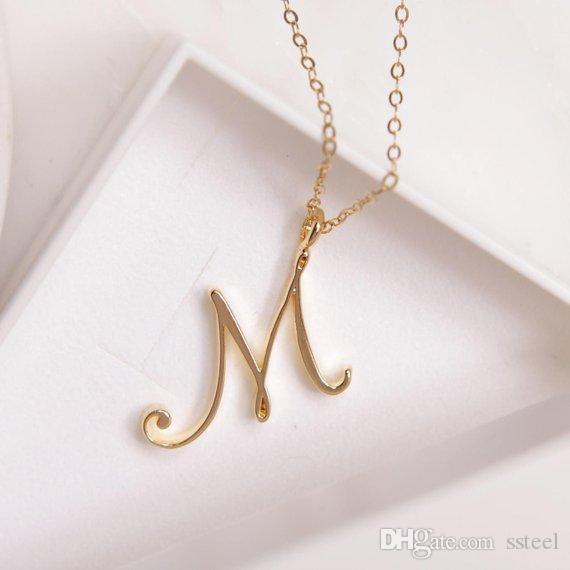 26PCS / الكثير الذهب الفضة الدوامة الأبجدية الأولي قلادة رسالة كل 26 الإنجليزية A-Z مخطوطة فاخر اسم حرف واحد فقط خطابات كلمة سلسلة القلائد
