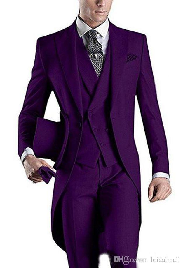 Bianco / nero / viola / Borgogna / blu del mens partito convenzionale Ballando Abiti Blazer frac uomini di partito Groomsmen in smoking sposa (Jacket + Pants + vest)