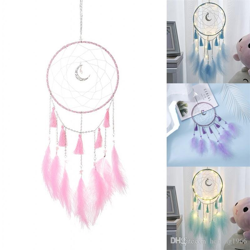 Tasseled Moon Dreamnets 손으로 만든 순수한 컬러 Dreamnet 깃털 바람 차임 홈 장식 장식품 예술 공예 창조적 8 8mg L1