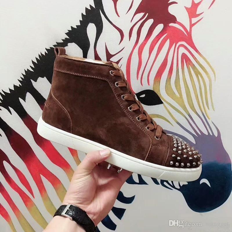 Camurça studded sneakers sapatos para mulheres, homens fundo vermelho pik pik spikes casual andando luxo design de luxo treinadores de lazer com caixa