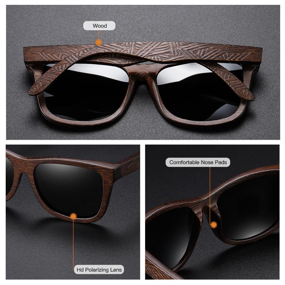 Las lentes de bambú natural gafas de sol polarizadas de madera Espejo de recubrimiento Gafas con caja de regalo